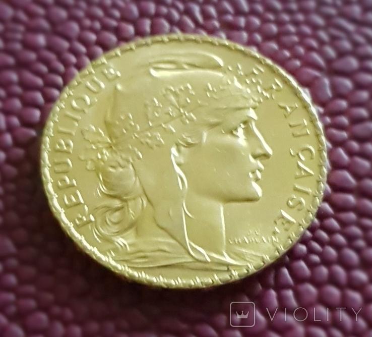 Франция, 20 франков 1910г., золото 6,45 грамм, фото №4
