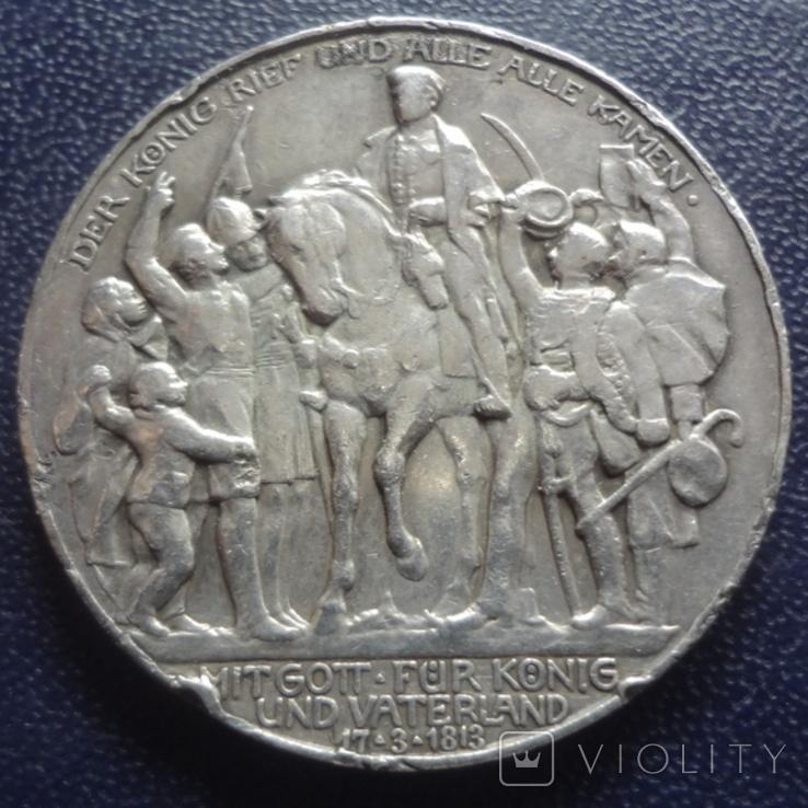 3 марки 1913 100-летие битвы народов при Лейпциге  серебро  (3.3.4), фото №2