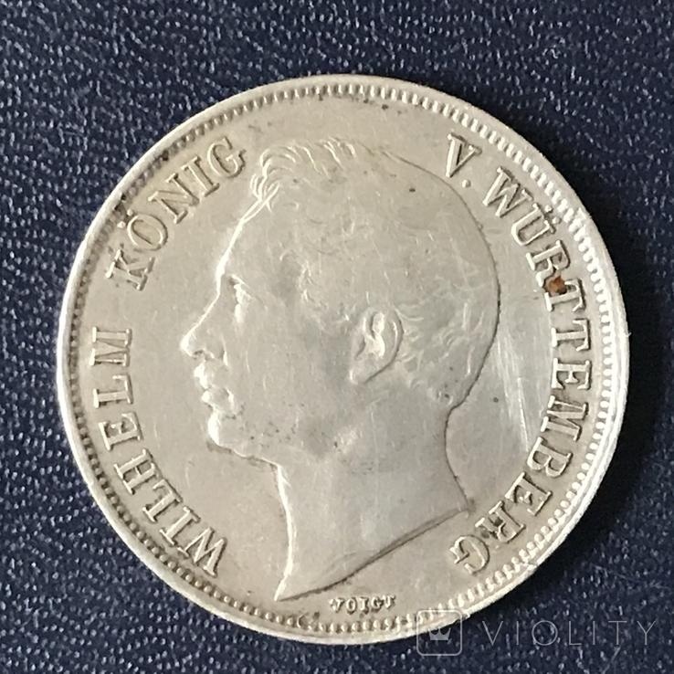 Гульден 1843 р. Вюртемберг, фото №2