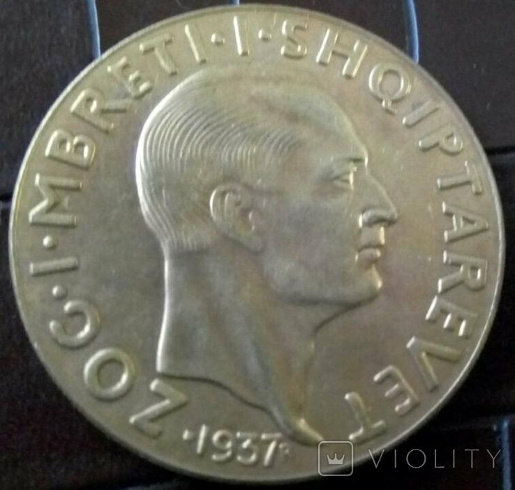100  фр.1937 року. Албанія /репліка/позолота 999., фото №3