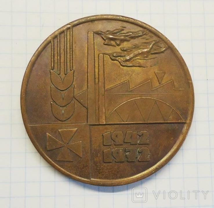 30 лет Польская партия рабочих 1942-1972 настольная медаль, фото №2
