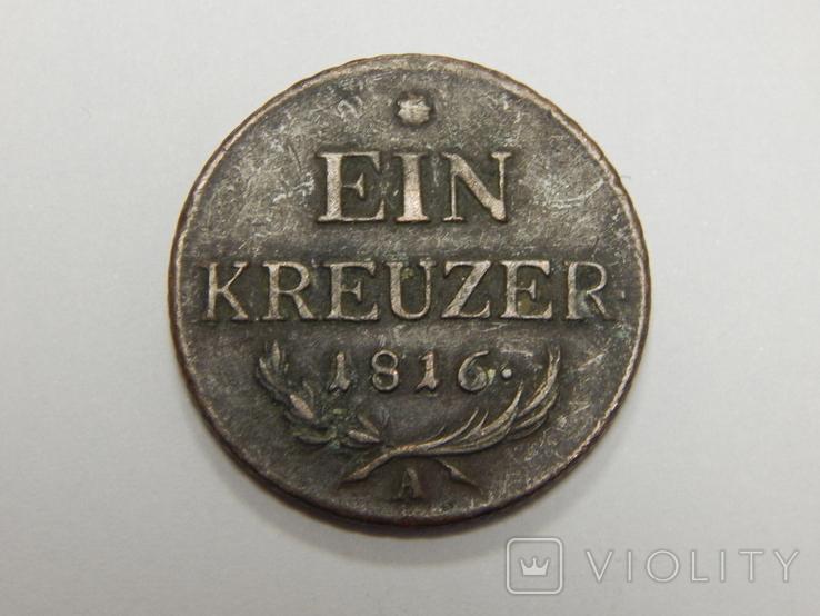 1 крейцер, 1816 А Австрия, фото №2
