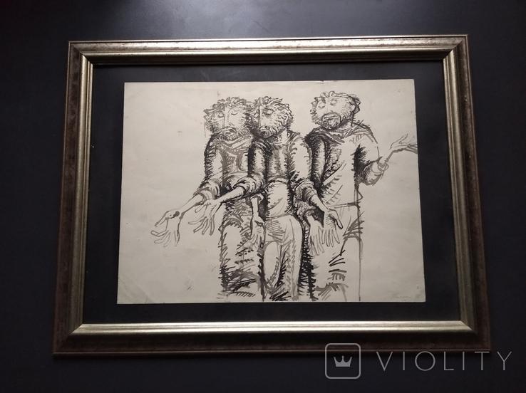 """Трое"" б.тушь.36х48. 1992г. Г. Палатников, фото №2"