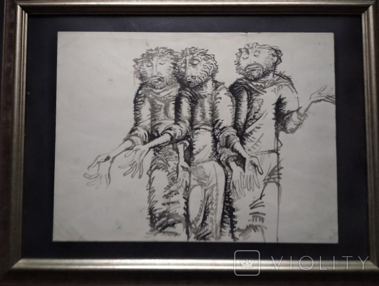 """Трое"" б.тушь.36х48. 1992г. Г. Палатников, фото №3"