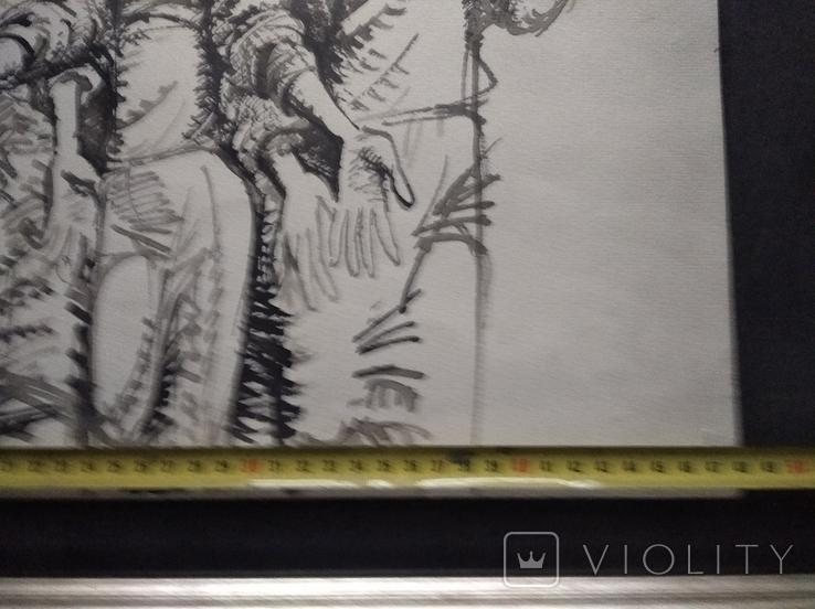 """Трое"" б.тушь.36х48. 1992г. Г. Палатников, фото №7"