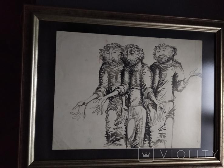 """Трое"" б.тушь.36х48. 1992г. Г. Палатников, фото №9"