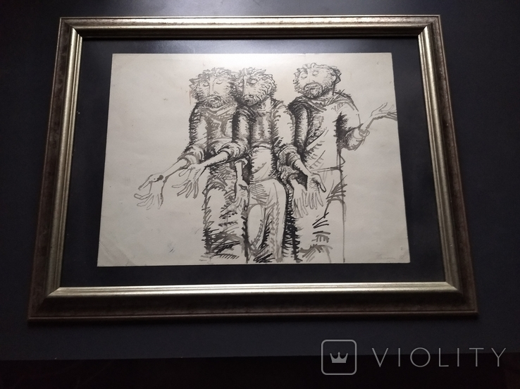 """Трое"" б.тушь.36х48. 1992г. Г. Палатников, фото №10"