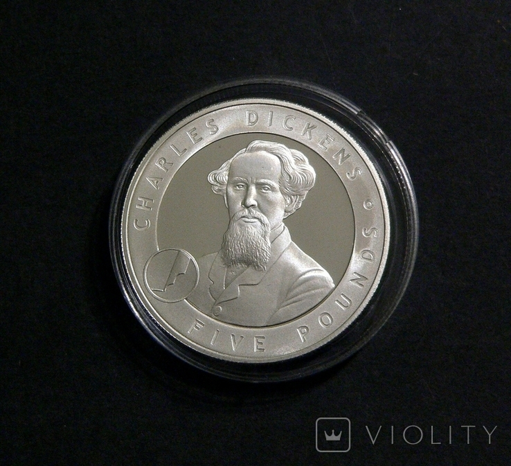 Олдерни, 5 фунтов 2006 - ЧАРЛЬЗ ДИККЕНС - серебро, фото №3