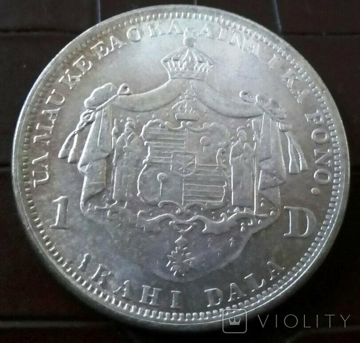 1 долар 1888 року Гаваї /репліка/ копія срібної, не магнітна, дзвенить, фото №3