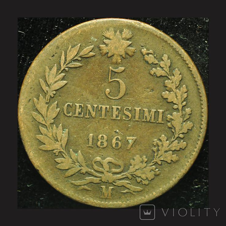 Италия 5 чентезими 1867, фото №2