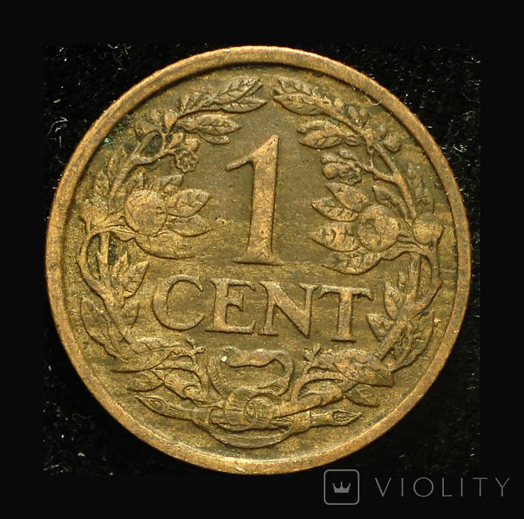 Нидерланды 1 цент 1921, фото №2