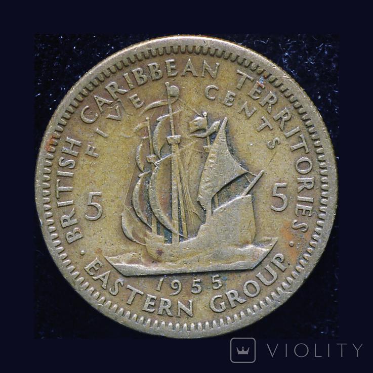 Британские Карибы 5 центов 1955, фото №2