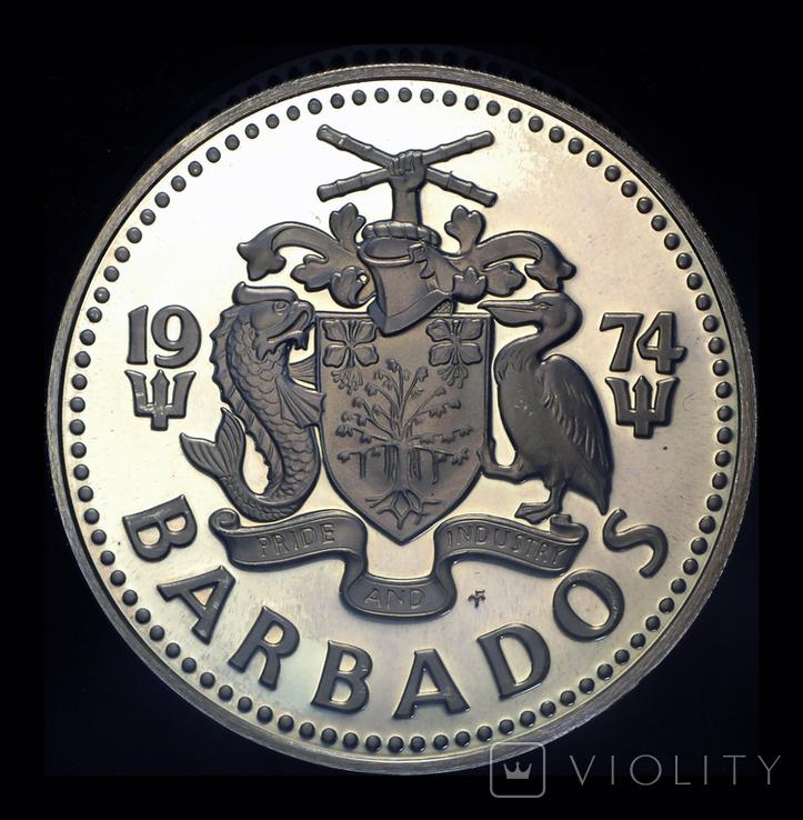 Барбадос 5 долларов 1974 пруф серебро 31.1 грамм, фото №2