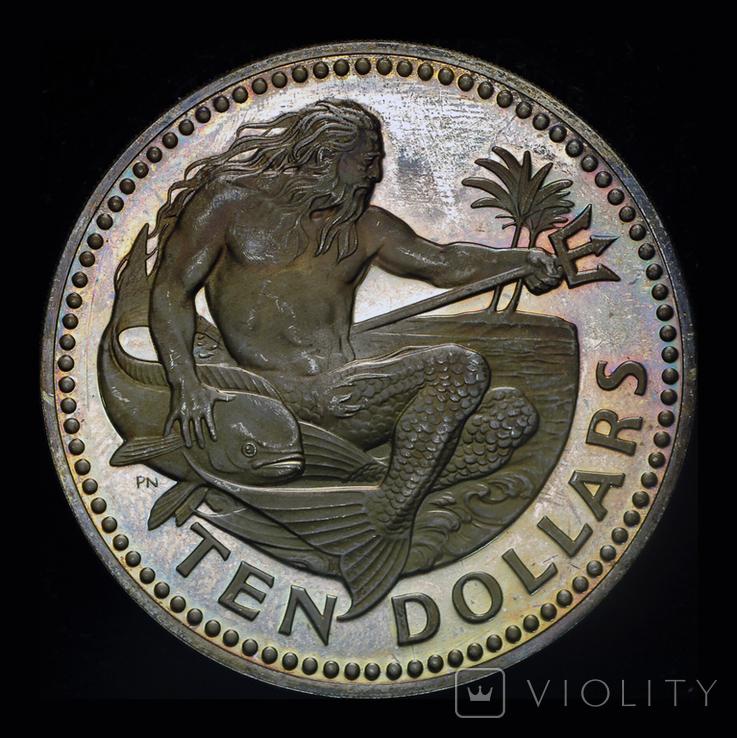 Барбадос 10 долларов 1974 пруф серебро 37.9 грамм, фото №3