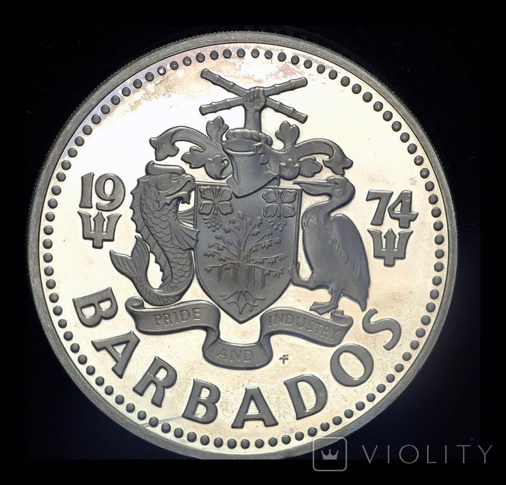 Барбадос 10 долларов 1974 пруф серебро 37.9 грамм, фото №4