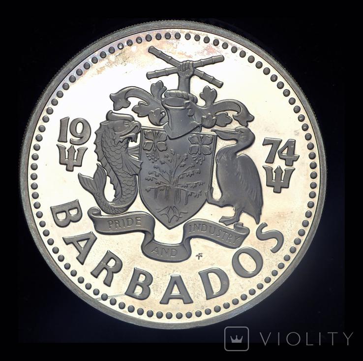 Барбадос 10 долларов 1974 пруф серебро 37.9 грамм, фото №5