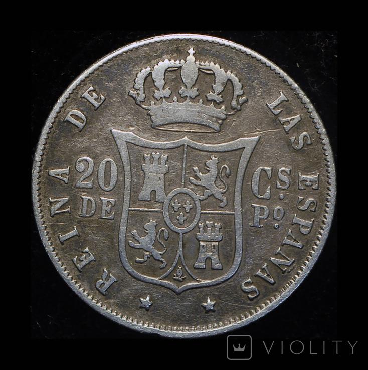 Испанские Филиппины 20 сентаво 1868 серебро, фото №2