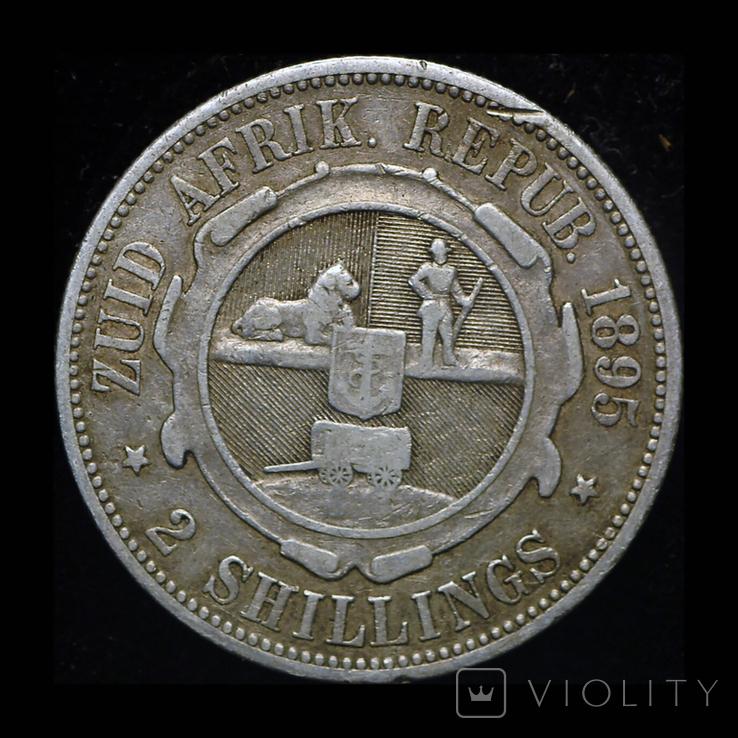 Южная Африка 2 шиллинга 1895 серебро, фото №3