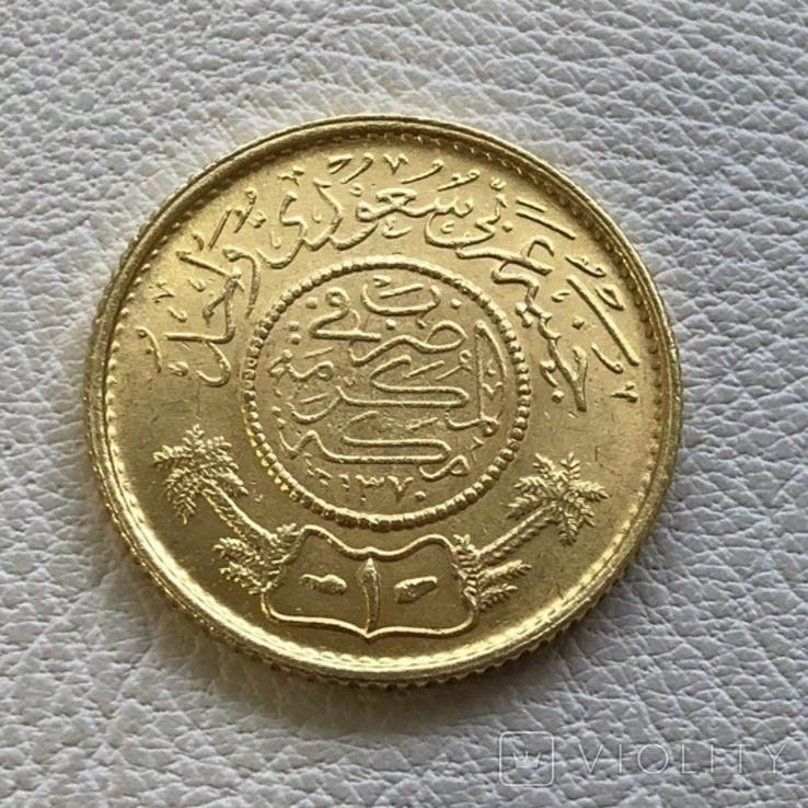 Саудовская Аравия гинея 1950 год 7,98 гр золота 917, фото №3