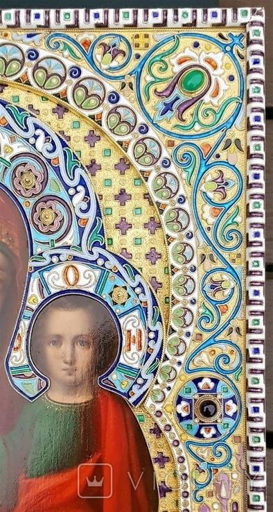 Икона Божьей матери Казанская в серебряном окладе с эмалью., фото №3