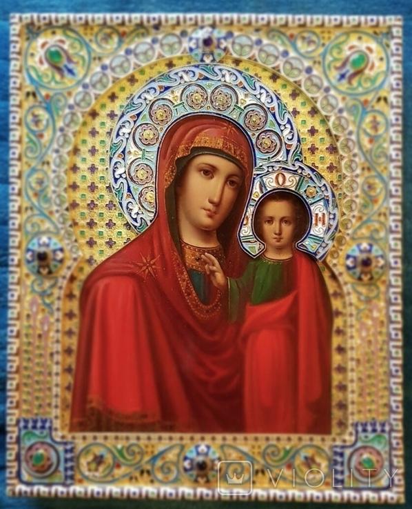 Икона Божьей матери Казанская в серебряном окладе с эмалью., фото №9