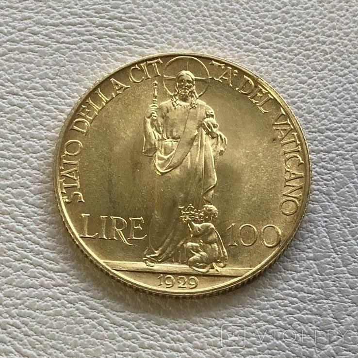 Ватикан 100 лир 1929 год 8,8 грамм золота 900, фото №3