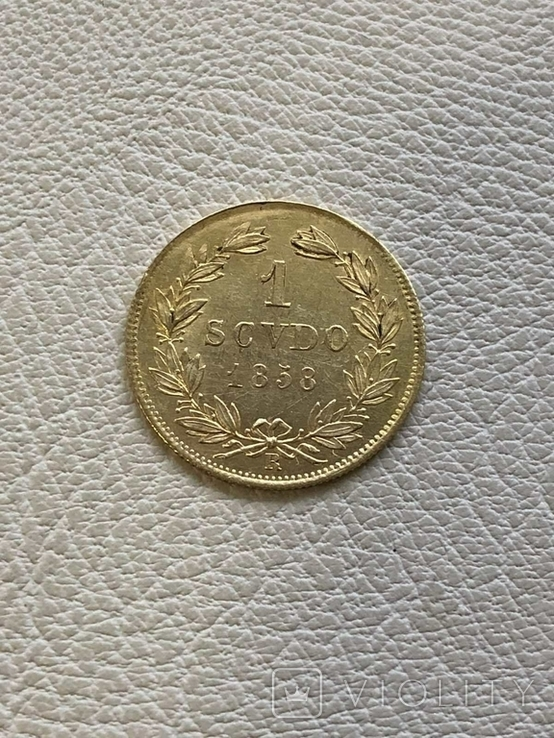 Италия 1 скудо Ватикан 1858 год 1,73 грамма золота 900, фото №2