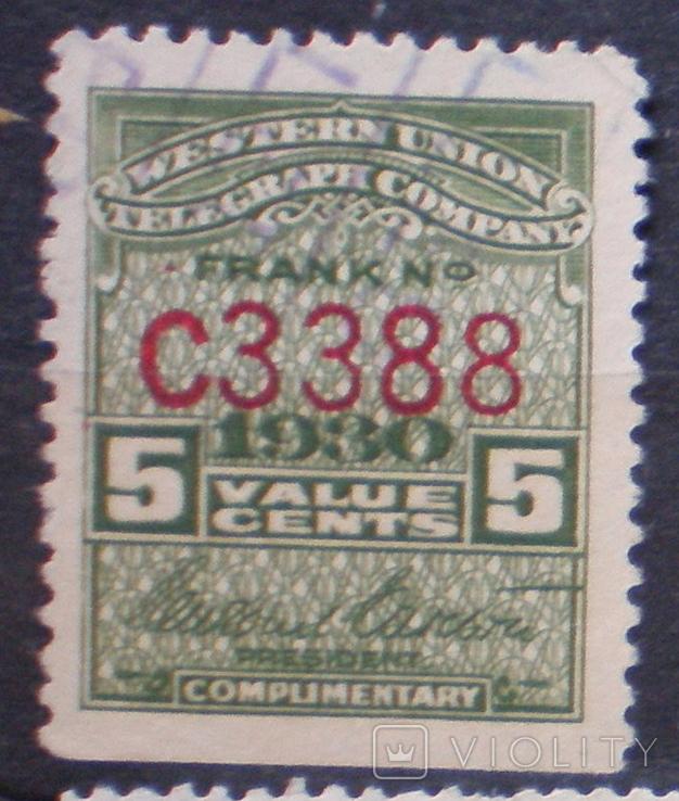 США телеграфная Вестерн Юнион 1930г