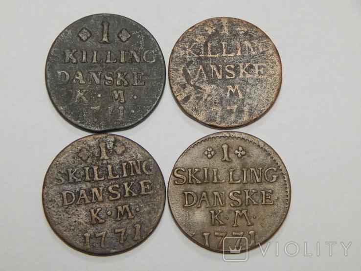 4 монеты по 1 скиллингу, Дания, 1771 г, фото №2