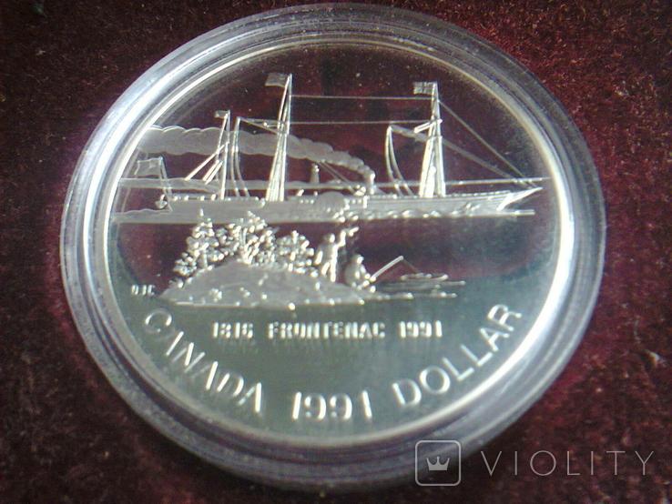 Канада 1 доллар 1991 г. Серебро. Фронтенак. Корабль., фото №7