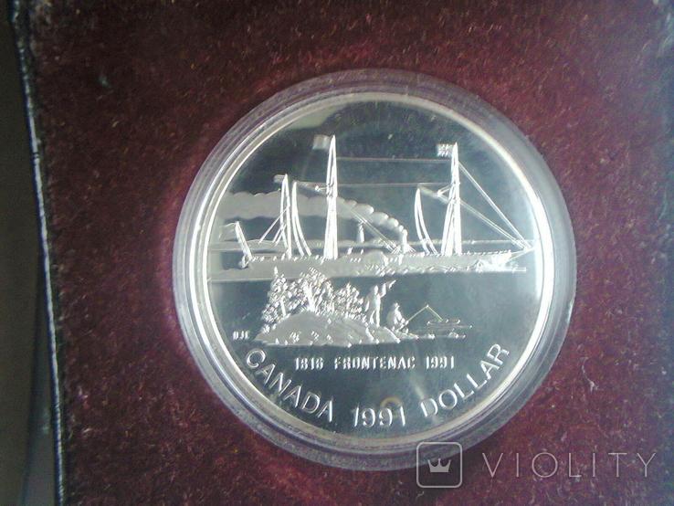 Канада 1 доллар 1991 г. Серебро. Фронтенак. Корабль., фото №8