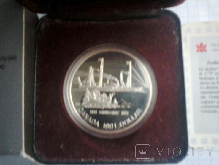 Канада 1 доллар 1991 г. Серебро. Фронтенак. Корабль., фото №11