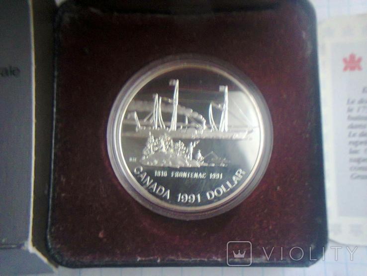 Канада 1 доллар 1991 г. Серебро. Фронтенак. Корабль., фото №12