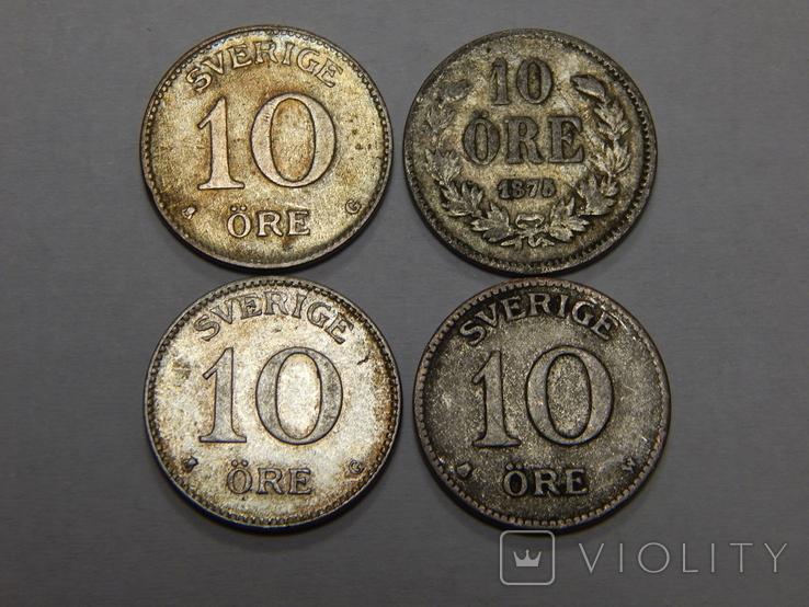 4 монеты по 10 оре, Швеция, фото №2
