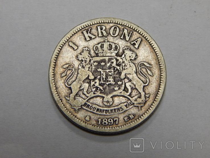 1 крона, 1897 г Швеция, фото №2