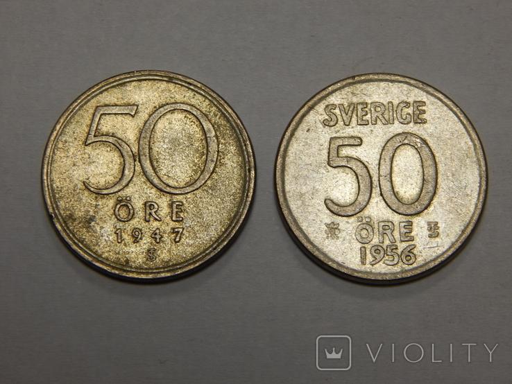 2 монеты по 50 оре, Швеция, фото №2