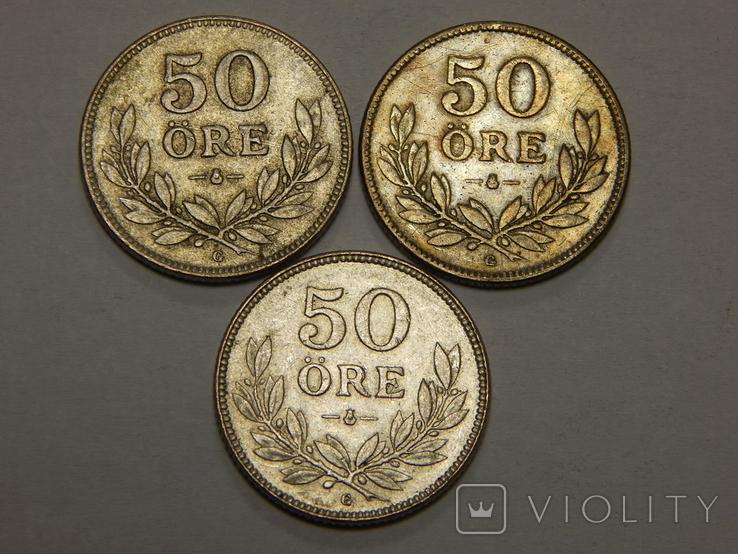 3 монеты по 50 оре, Швеция, фото №2