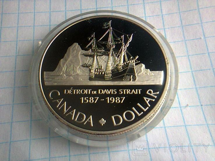 1 доллар, Канада, 1987 г., 400 лет открытию пролива Дейвиса, серебро, 0.500, 23.33 гр., фото №6