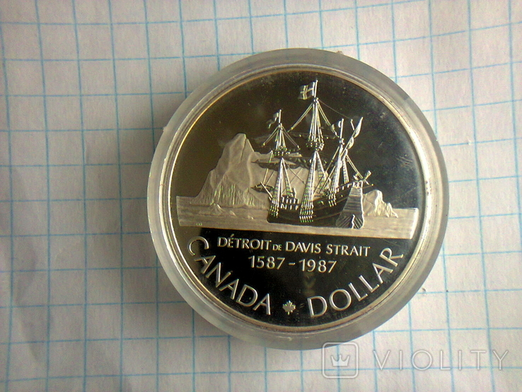 1 доллар, Канада, 1987 г., 400 лет открытию пролива Дейвиса, серебро, 0.500, 23.33 гр., фото №7