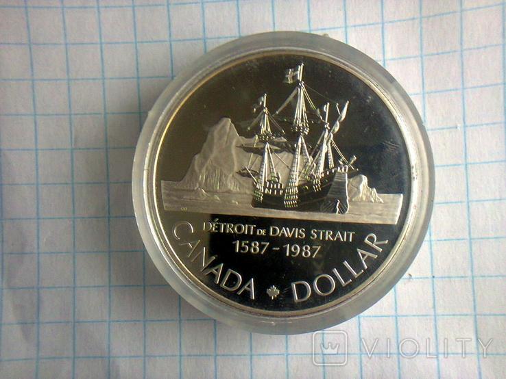 1 доллар, Канада, 1987 г., 400 лет открытию пролива Дейвиса, серебро, 0.500, 23.33 гр., фото №8