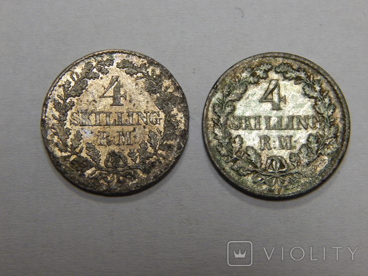 2 монеты по 4 скиллинга, Дания, фото №2