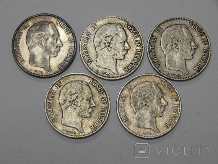 5 монет по 2 кроны, Дания, фото №3
