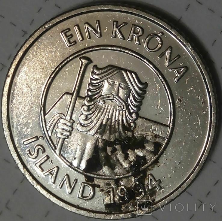 Исландия 1 крона 1994, фото №3