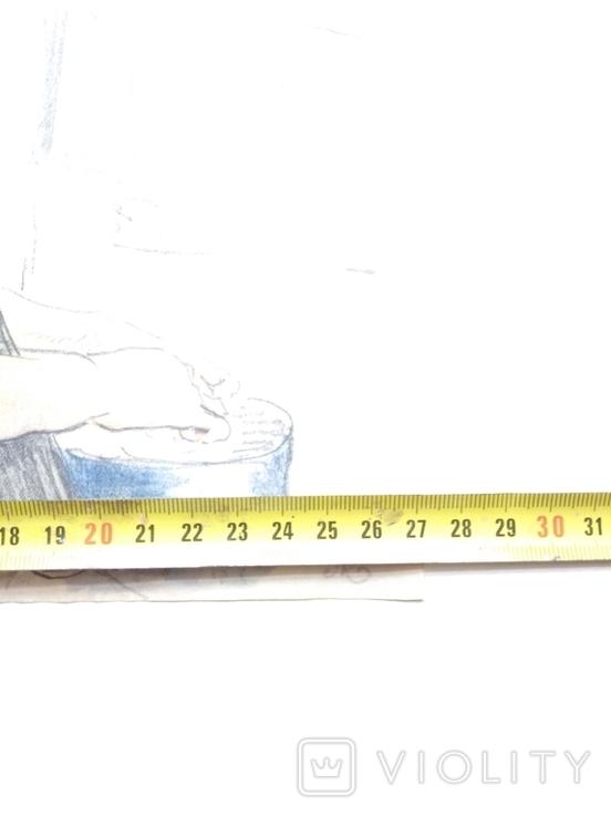 """""""Работница""""б.см.техн.20х26 П.Кановский, фото №6"""