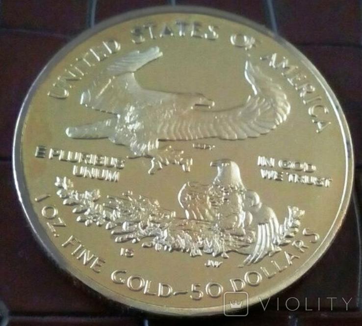 50 доларів 2011 року.США /репліка-копія /позолота 999., фото №2
