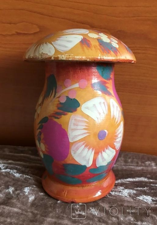 Деревянная расписная копилка в виде грибочка, период СССР, фото №3