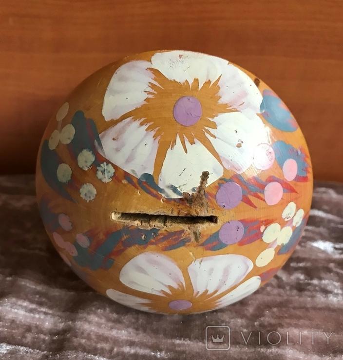 Деревянная расписная копилка в виде грибочка, период СССР, фото №6