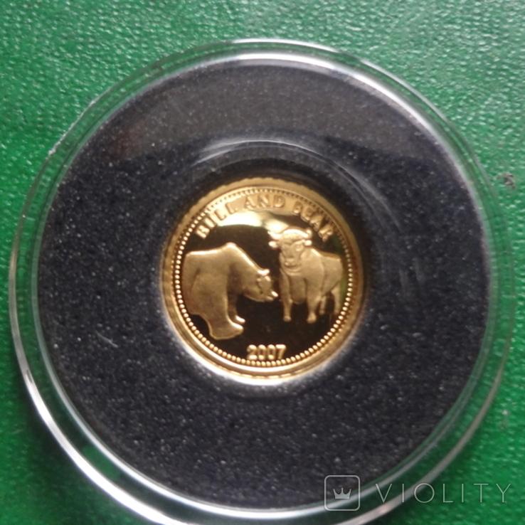 1 доллар 2007 Палау Медведь и Бык золото 999 пробы  (2.3.9)