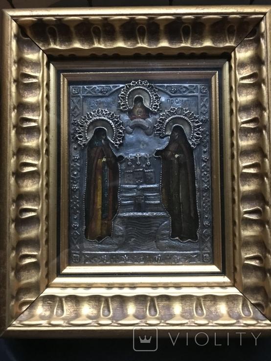Икона Св. Зосима и Св. Саватий в серебряном окладе. 1877 год Поволжье, фото №4