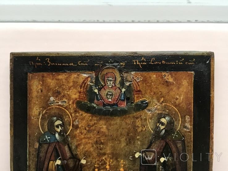 Икона Св. Зосима и Св. Саватий в серебряном окладе. 1877 год Поволжье, фото №11